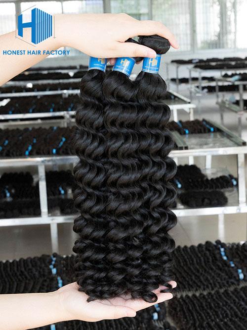 Wholesale 8-50 Inch Deep Wave Premium Brazilian Hair #1B Natural Black