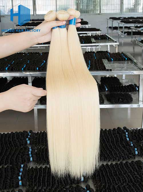 Wholesale 14-32 Inch Brazilian Premium Blonde 613# Straight Hair