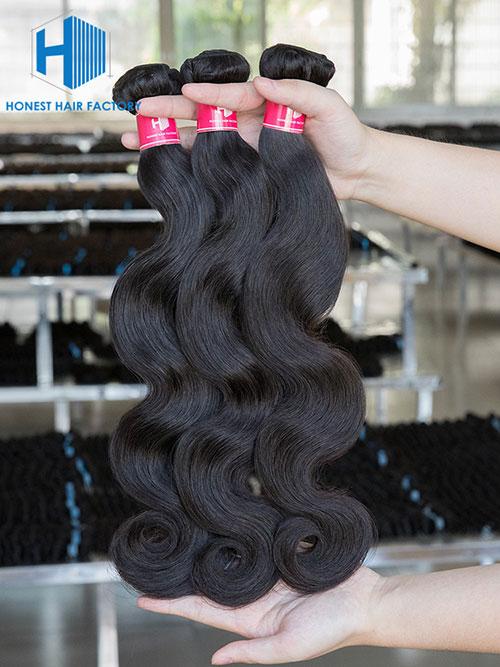 Wholesale 12-28 Inch Body Wave Virgin Indian Hair #1B Natural Black