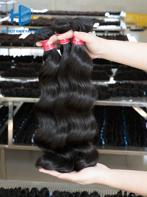Wholesale 12-28 Inch Loose Wave Virgin Indian Hair #1B Natural Black