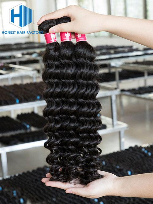 Wholesale 12-28 Inch Deep Wave Virgin Indian Hair #1B Natural Black