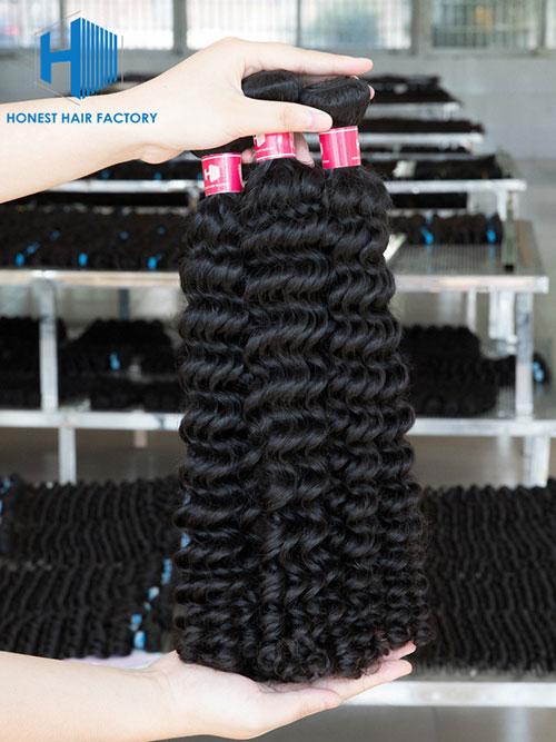 Wholesale 12-28 Inch Curly Virgin Indian Hair #1B Natural Black