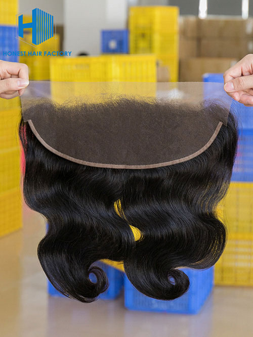 Wholesale 8-22Inch Body wave Pre-plucked 13*5 Transparent  Lace Frontal