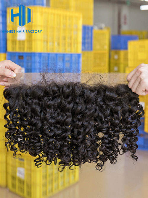 Wholesale 8-22Inch Deep wave Pre-plucked 13*5 Transparent Lace Frontal