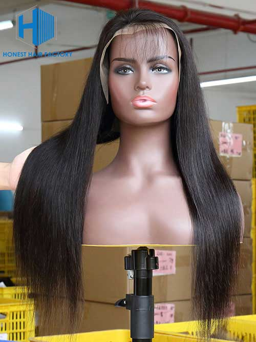 Wholesale 150% Straight 13*5 Frontal Lace Wig With Pre-plucked Hair Line